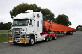 35 metre crane girder from Melbourne to Adelaide, 4 metres wide and weighing 28 tonne