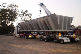 Section of a coal loading bin from Kempsey to Newcastle 5.7 metres wide 16 metres long and weighing 53 tonne