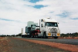 Transformer from Melbourne to Karratha WA 3.5 metres wide overall height 5.2 metres and weight 32 tonne